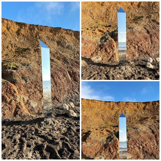 A composite of images of a monolith on Compton Beach, on the Isle of