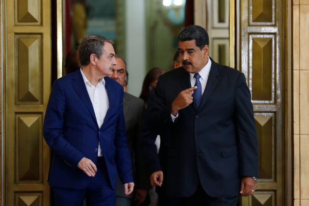 Nicolas Maduro y José Luis Rodríguez Zapatero, en Caracas, en
