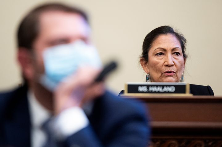Rep. Deb Haaland listens to witnesses in a House Natural Resources Committee hearing on July 28. Bill Clark/Pool via REUTERS