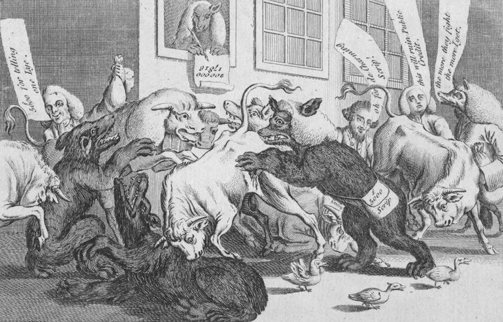 "A 1770 satirical cartoon from Oxford Magazine titled ""A scene in Change Alley among the Bulls, Bears & Lame Ducks."""