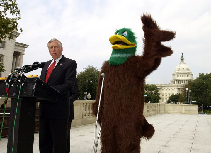 "Rep. Steny Hoyer of Maryland introduces Mr. DeLayme Duck at a press conference in Washington in 2004. Hoyer said ""the Republican Congress is ducking its responsibility and is forcing us to come back for a lame-duck session after the elections."" Many have criticized the term ""lame duck"" as ableist."