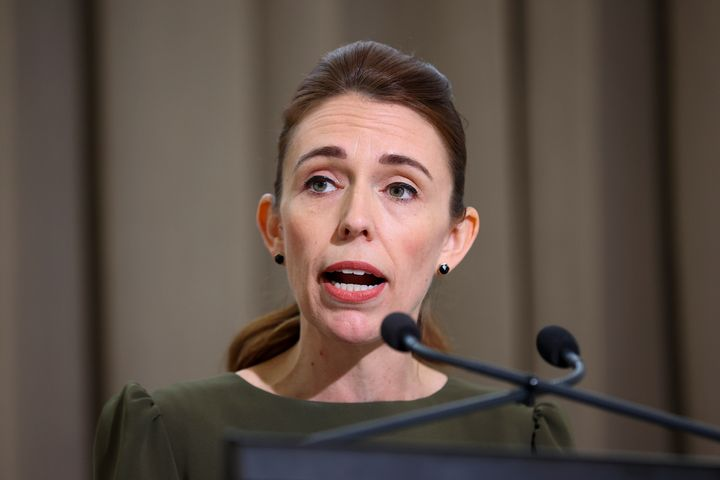 New Zealand Prime Minister Jacinda Ardern speaks to media during a media lock-up ahead of the release of the Royal Commission of Inquiry in relation to the Terrorist Attack on Christchurch Mosques at Parliament on December 08, 2020 in Wellington, New Zealand.