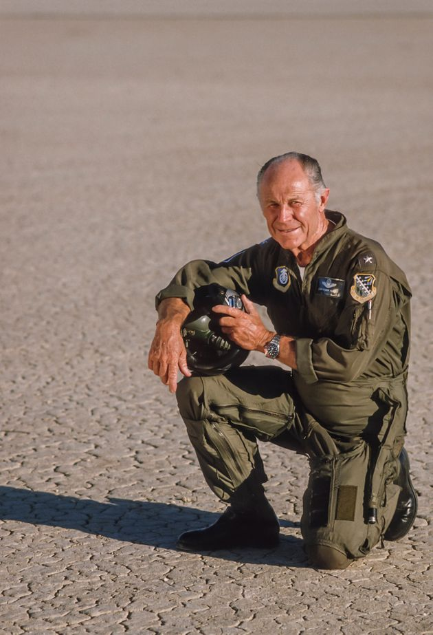 EDWARDS, CA - CIRCA 1986: General Chuck Yeager poses during a portrait session circa 1986 at Edwards...
