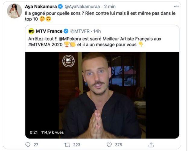 Aya Nakamura avait retiré ce tweet 2 minutes après sa publication le 9 novembre