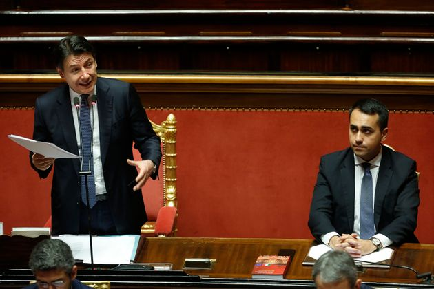 The Italian premier Giuseppe Conte and the Minister of foreign affairs Luigi Di Maio during the sitting...