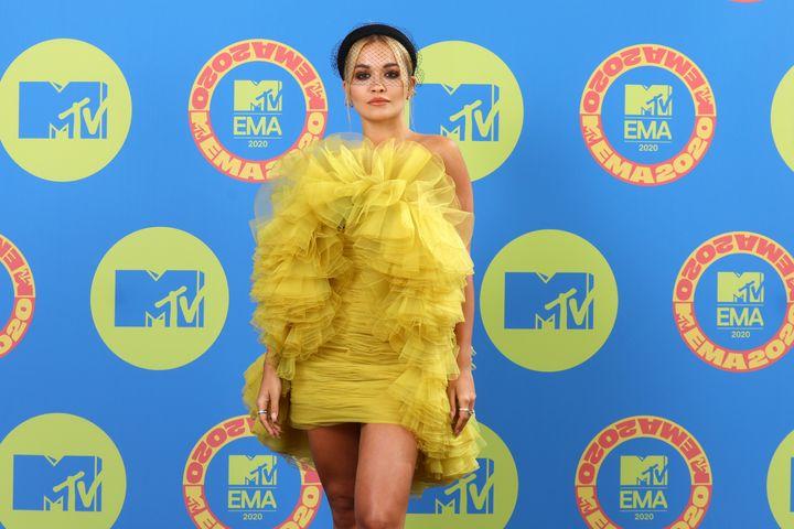 Rita Ora poses ahead of the MTV EMA's 2020 on Nov. 1 in London.