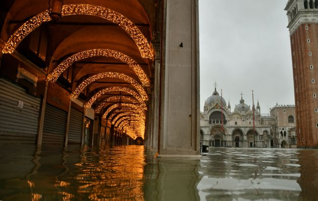 A view shows a flooded St. Mark's Square on December 8, 2020 following a high tide
