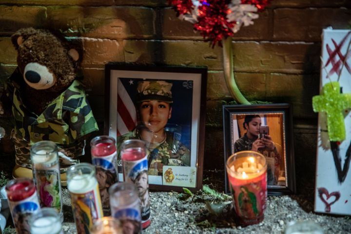 Candles and flowers adorn a mural of Vanessa Guillen, a soldier based at nearby Fort Hood on July 6, 2020 in Austin, Texas. (