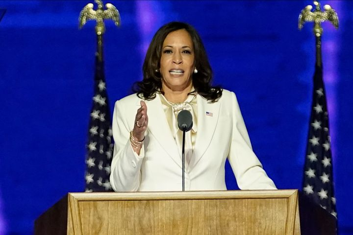 Vice President-elect Kamala Harris delivers remarks before President-elect Joe Biden's address to the nation Nov. 07, 2020 in Wilmington, Del.