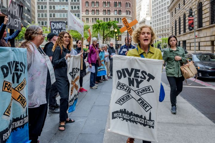 Protesters calling for fossil fuel divestment rally outside DiNapoli's office in New York City in 2018.