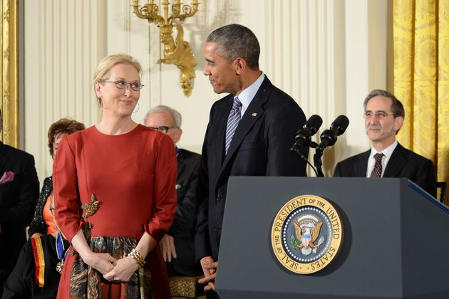 President Barack Obama presents the 2015 Presidential Medal of Freedom to Meryl Streep as well as 18