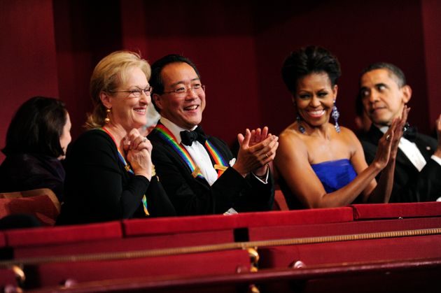 Yo-Yo Ma, Meryl Streep and the Obamas pictured at the 34th Annual Kennedy Center