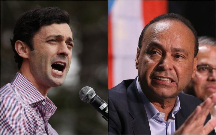 Former Rep. Luis Gutiérrez (D), right, temporarily withdrew his support from Georgia Democrat Jon Ossoff, pending assu