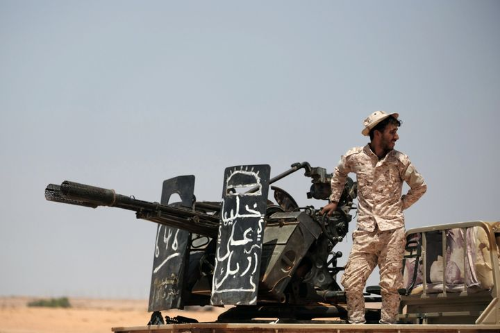 A fighter with UAE-backed forces in Libya, pictured earlier this year.