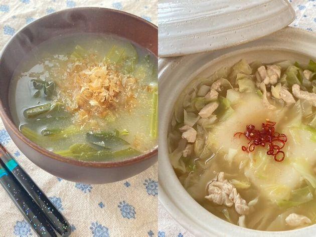 岐阜出身のメンバーのお雑煮を小松菜を使って真似てみたら、煮込みすぎて餅が溶けました。これはこれで、とろみがあって美味しかったです(左)。野菜と餅を煮た一品も再現してみました。使った野菜はキャベツだけです(右)