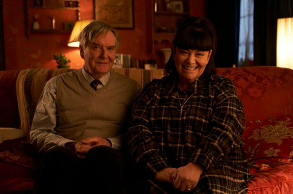 James Fleet, who plays Hugo Horton with Dawn French on the set of The Vicar of Dibley in