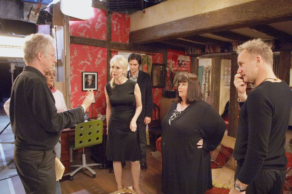 The cast of The Vicar of Dibley on the set of Comic Relief's, Red Nose Day 2007 special