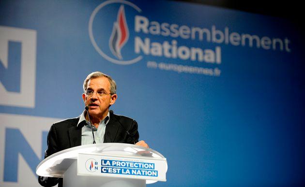 Thierry Mariani lors d'un meeting du Rassemblement national pour les élections européennes...