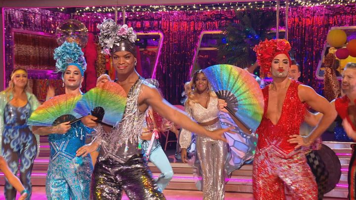 (L-R) Gorka Marquez, Johannes Radebe and Giovanni Pernice performed in drag on Saturday's Strictly Come Dancing