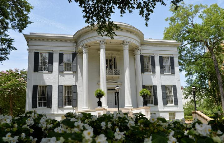 Mississippi Governor Tate Reeves is reportedly hosting several holiday parties at his Jackson mansion, pictured,despite