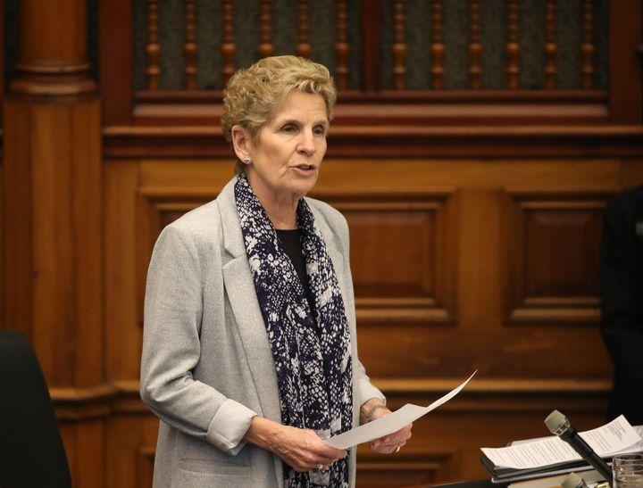 MPP Kathleen Wynne speaks at Queen's Park in Toronto on March 5, 2020.