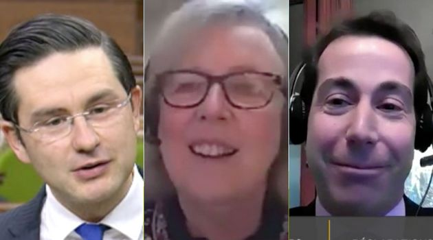 Conservative MP Pierre Poilievre, Green Party Parliamentary Leader Elizabeth May and Liberal MP Anthony...
