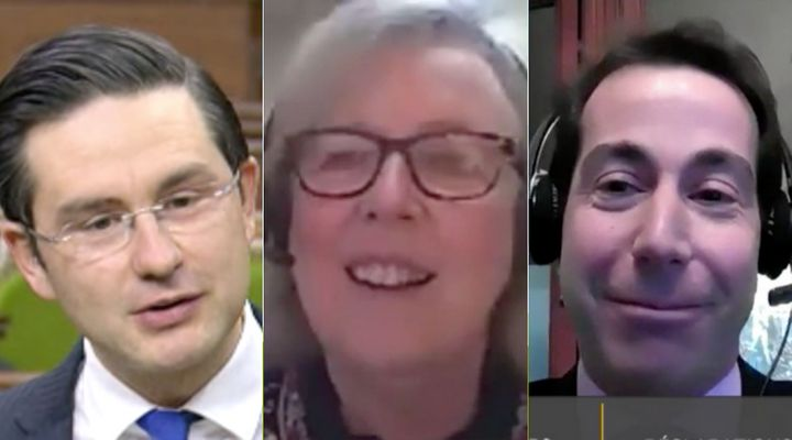 """Conservative MP Pierre Poilievre, Green Party Parliamentary Leader Elizabeth May and Liberal MP Anthony Housefather take part in aHouse of Commons tradition Wednesday, each reading their renditions of """"'Twas The Night Before Christmas."""""""