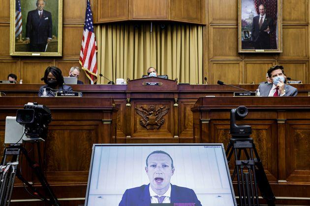 (자료사진) 2020년 7월29일 - 마크 저커버그 페이스북 CEO가 의회 법사위원회 반독점법 조사에 화상으로 참석한