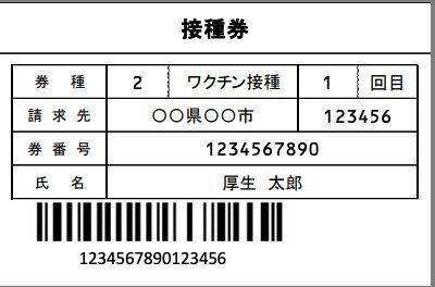 「接種券」のデザイン例(厚生労働省資料より)