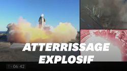Explosion à l'atterrissage du 1er vol en altitude de la fusée de Musk pour aller sur