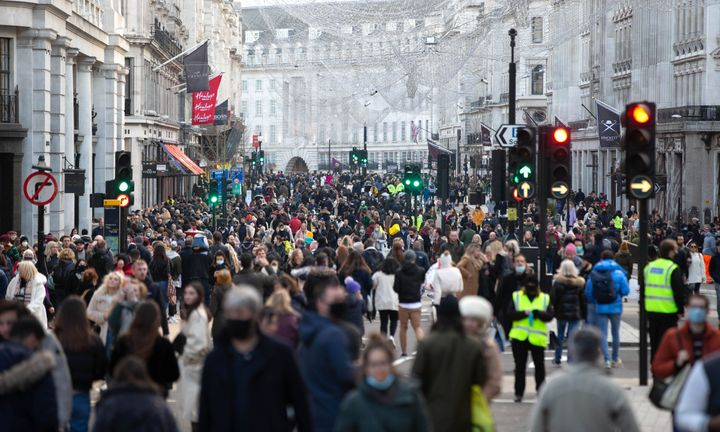 Busy shoppers on Oxford Street, London on Dec 5 2020.