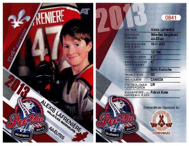 Aucune carte d'Alexis Lafrenière n'a été produite par le Tournoi international de hockey pee-wee de Québec lors de sa participation en 2013.