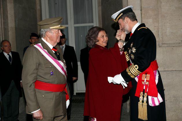 Los reyes Juan Carlos, Sofía y Felipe