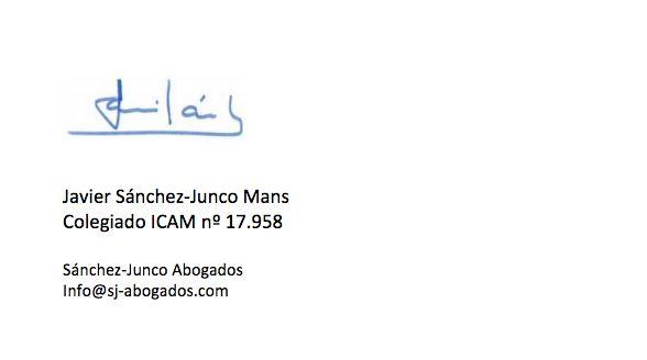 Firma del abogado en el comunicado sobre el rey Juan