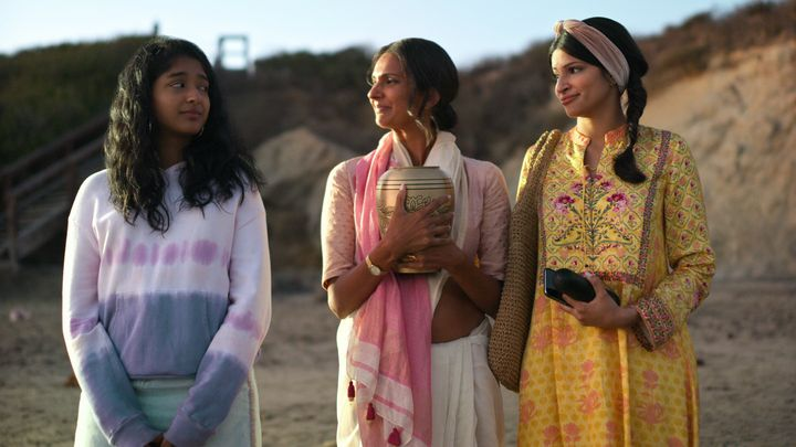 "Maitreyi Ramakrishnan with Poorna Jagannathan and Richa Shukla Moorjani in ""Never Have I Ever."""