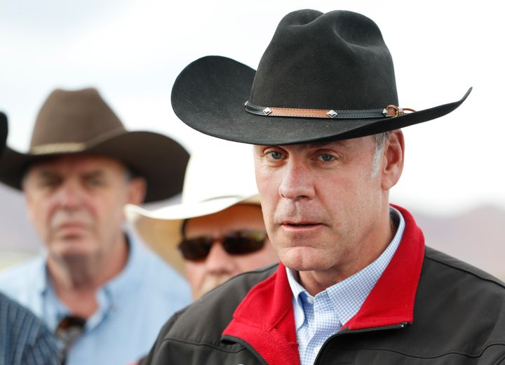 Then-Secretary of the Interior Ryan Zinke talks to reporters during his 2017 visit to Utah to tour Bears Ears National Monume