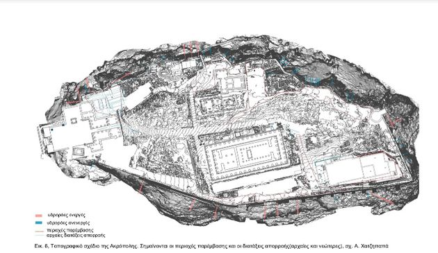 Τοπογραφικό σχέδιο της Ακρόπολης. Σημαίνονται οι περιοχές παρέμβασης και οι διατάξεις