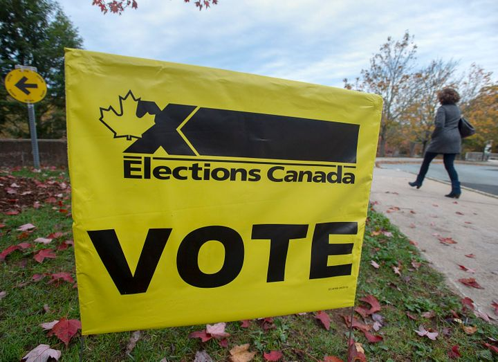 A voter heads to cast their vote in Canada's federal election at the Fairbanks Interpretation Centre in Dartmouth, N.S. on Oct. 21, 2019.