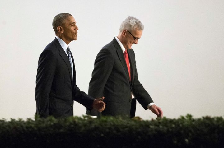 President Barack Obama and former White House chief of staff Denis McDonough, who is one of several Obama administration alum