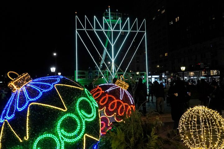 A giant Hanukkah menorah is seen on Thursday, Dec. 10, 2020, along Fifth Avenue in New York, on the first night of the annual
