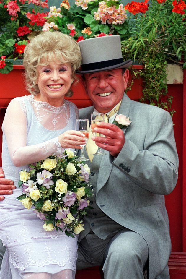 Barbara Windsor as Peggy Mitchell and Mike Reid, who played Frank Butcher, in EastEnders in