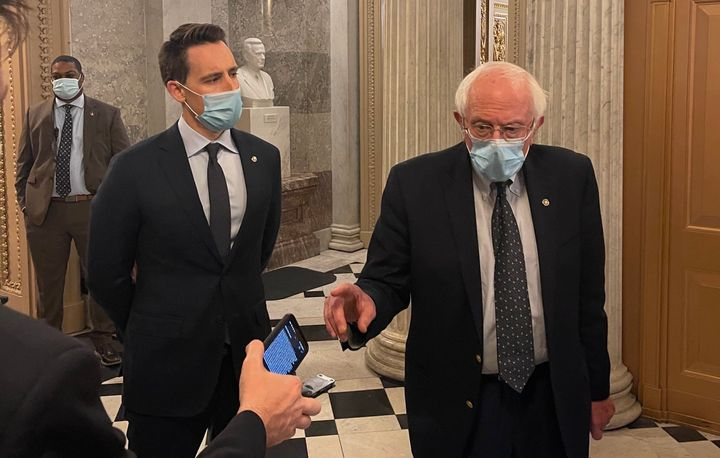 Sens. Josh Hawley (left) and Bernie Sanders aren't on the same side on most issues, but they are pressing their colleagues in