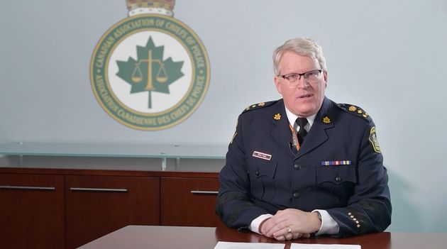 A screenshot from a video apologizing for Canadian police chiefs' opposition to the decriminalization...