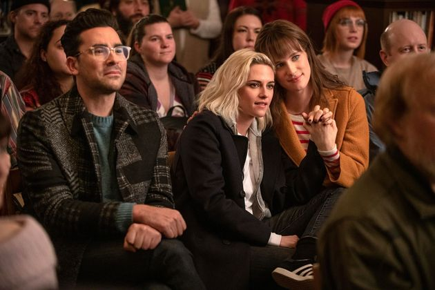 Happiest Season stars (L-R) Dan Levy, Kristen Stewart and Mackenzie