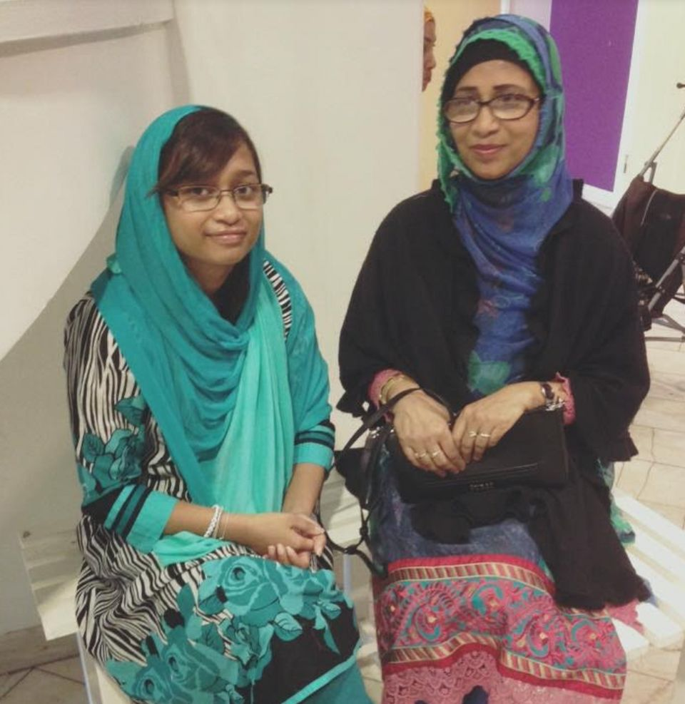 Anika Hussain, with her mum before going to the mosque on a happier