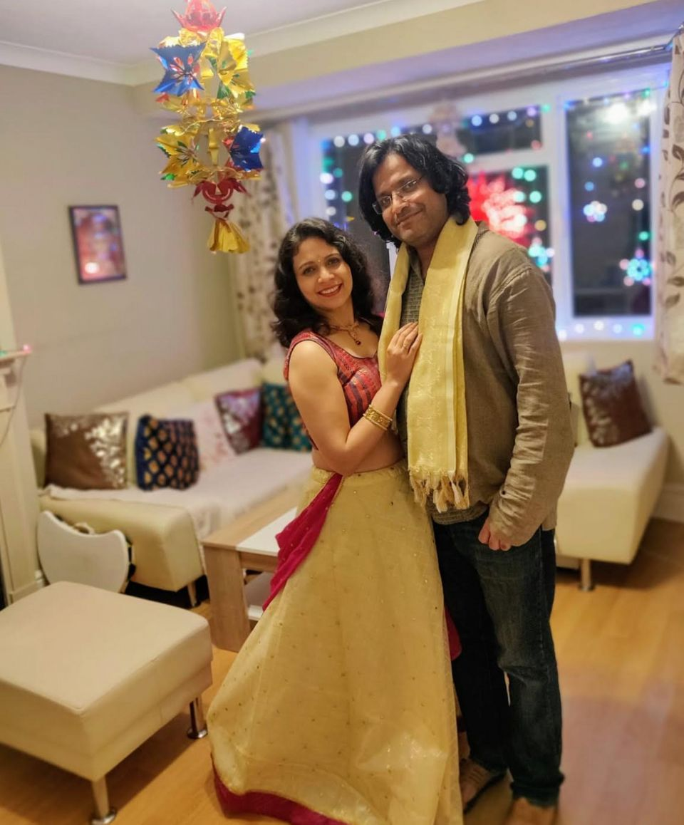 Shipra Jain Khanna and her husband Yash celebrating Diwali alone at home this