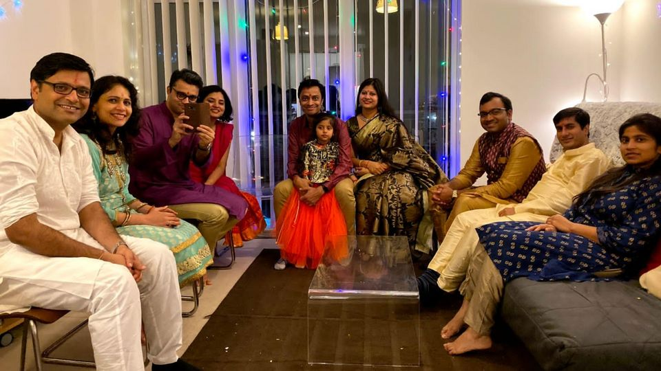 Shipra Jain Khanna and her husband Yash celebrating Diwali with friends in a previous