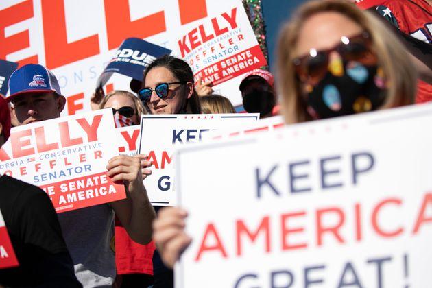 Simpatizantes republicanos durante un acto electoral en Augusta,