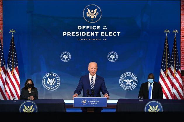 El presidente electo de Estados Unidos, Joe Biden, y la vicepresidenta electa, Kamala Harris, en un evento...