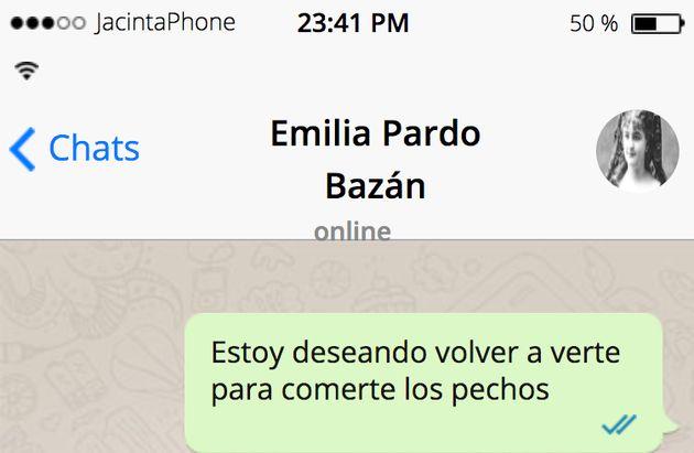 El 'WhatsApp' más 'hot' entre Pérez Galdós y Pardo